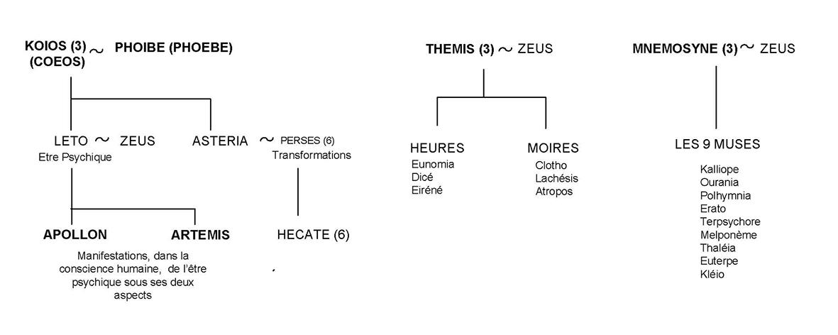 Léto, les Moires et les Muses - Arbre généalogique 5 - Mythologie grecque