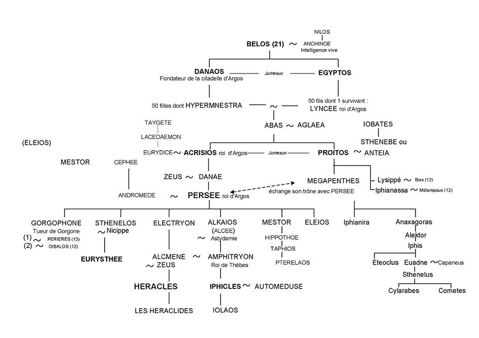 Persée et Héraclès - Arbre généalogique 24 - Mythologie grecque