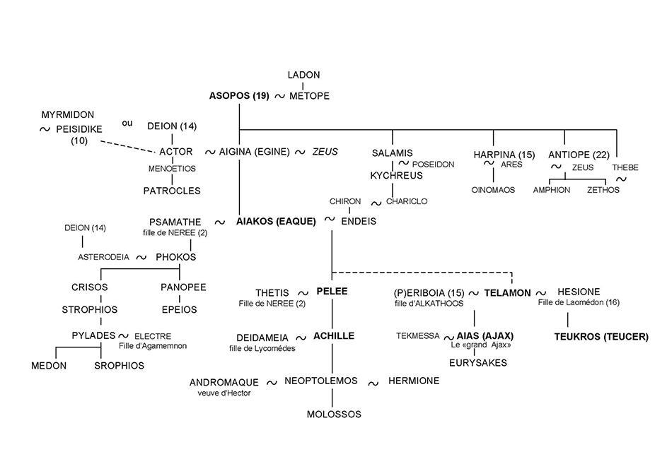 Achille et Ajax - Arbre généalogique 25 - Mythologie grecque