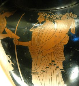 Hades holding the cornucopia (or Horn of plenty)