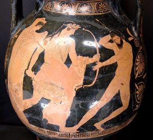 Léto derrière Apollon perçant de ses flèches Tityos qui essayait de la violer.