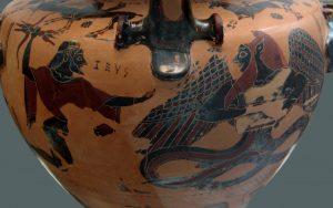 Typhon combattu par Zeus sur une poterie grecque antique