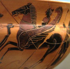 Le cheval ailé Pégase issu du cou tranché de la Gorgone Méduse