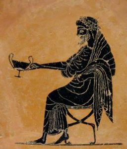 Dionysos tenant un cratère