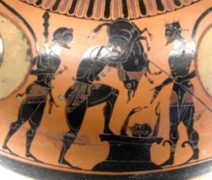 Heracles brings back alive the Erymanthian boar to Eurystheus