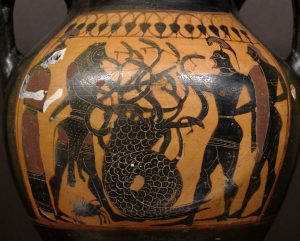 Heracles fighting the Lernaean Hydra with the help of Iolaus