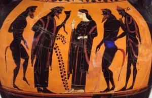 Dionysos et Ariane entourés de satyres