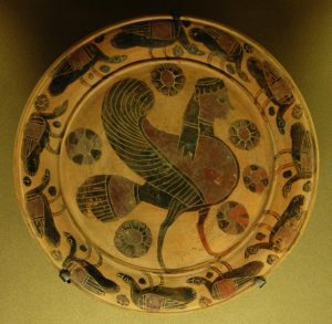 A siren painted on an ancient Greek pottery