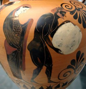 Persephone supervising Sisyphus pushing his rock in the Underworld
