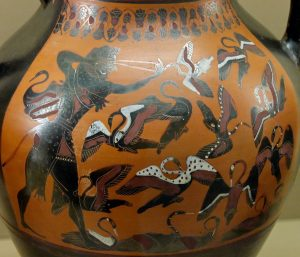 Heracles hunting the Stymphalian birds