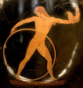 Ganymede holding a hoop and a cock,