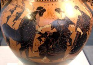 Pélée luttant avec Thétis qui prend la forme du feu puis d'un gros chat, en présence de Chiron et d'une Néréide