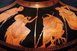 Patrocle se tenant derrière Achille (sur la gauche)