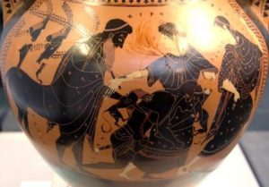 Peleus wrestling Thetis (who shapeshifts in fire and big cat), between Chiron and a Nereid.